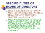 specific duties of board of directors10