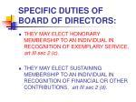 specific duties of board of directors13