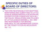 specific duties of board of directors2