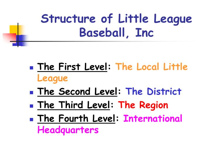 structure of little league baseball inc n.