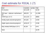 cost estimate for focal 1