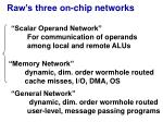 raw s three on chip networks