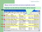 merge vendor book lists and remove duplicate records