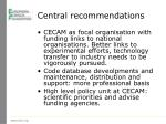 central recommendations