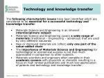 technology and knowledge transfer