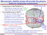 macroscopic stability group will provide the physics basis for long pulse sustainment