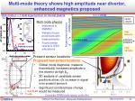 multi mode theory shows high amplitude near divertor enhanced magnetics proposed