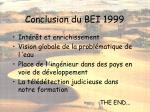 conclusion du bei 1999