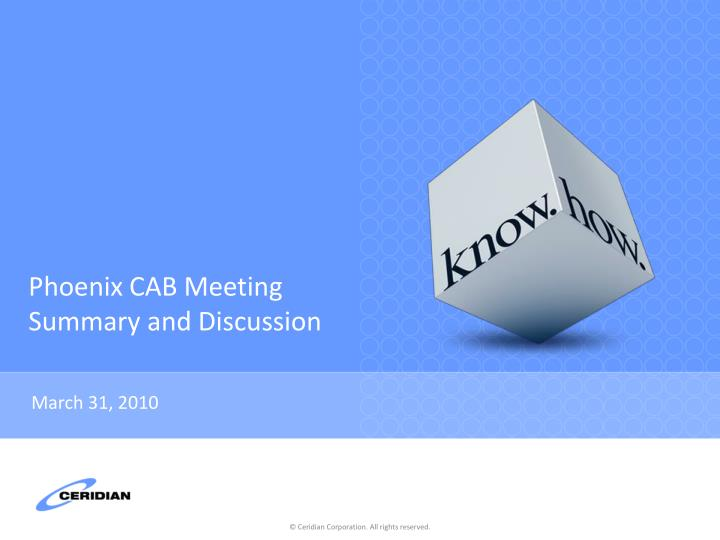 phoenix cab meeting summary and discussion n.