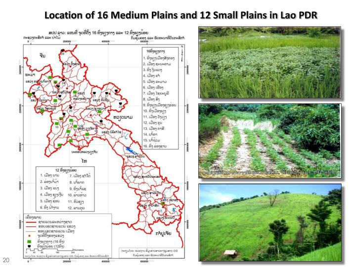Location of 16 Medium Plains and 12 Small Plains in Lao PDR