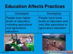 education affects practices