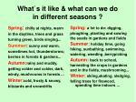 what s it like what can we do in different seasons