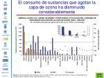 el consumo de sustancias que agotan la capa de ozono ha disminuido considerablemente