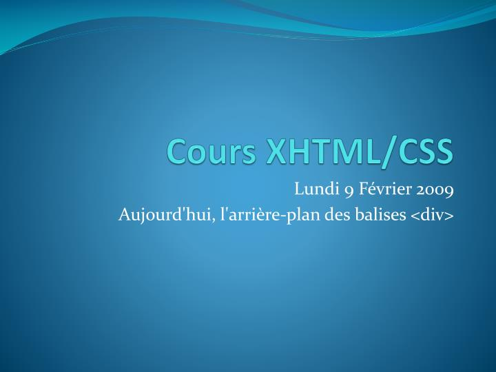 cours xhtml css n.