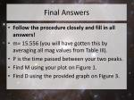 final answers