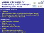 leaders of education for sustainability in he analogies describing their world