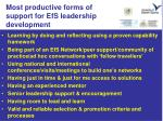most productive forms of support for efs leadership development