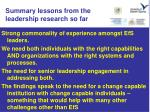 summary lessons from the leadership research so far
