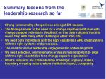 summary lessons from the leadership research so far1