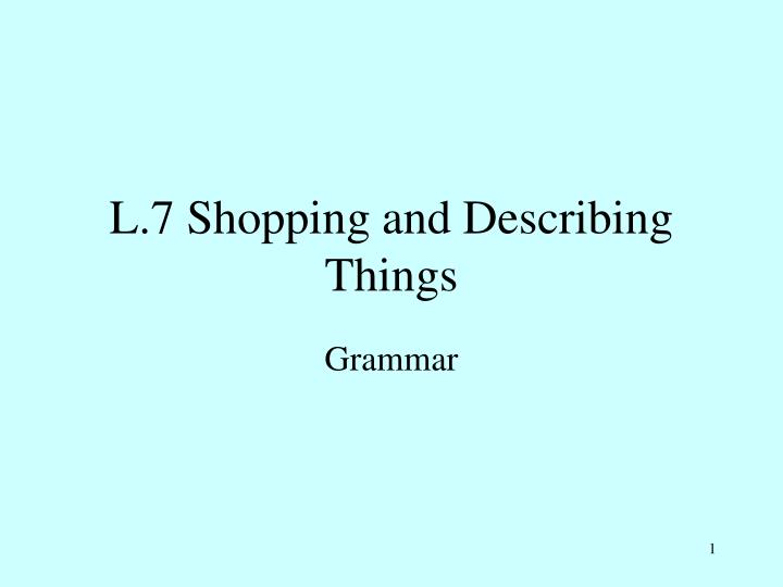 l 7 shopping and describing things n.