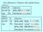 past affirmative negative ku nakatta form