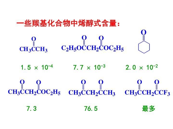 一些羰基化合物中烯醇式含量: