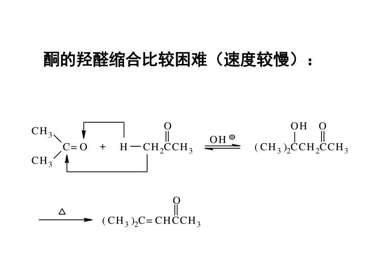 酮的羟醛缩合比较困难(速度较慢):