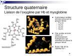 structure quaternaire liaison de l oxyg ne par hb et myoglobine