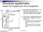 structure quaternaire liaison de l oxyg ne par hb et myoglobine3