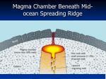 magma chamber beneath mid ocean spreading ridge