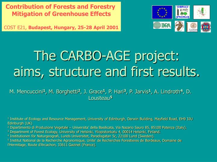 the carbo age project aims structure and first results n.