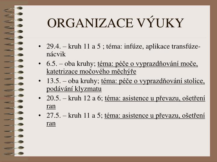 29.4. – kruh 11 a 5 ; téma: infúze, aplikace transfúze- nácvik