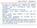 legal matters agreements