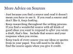 more advice on sources