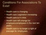 conditions for associations to exist