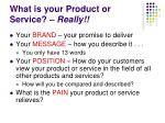 what is your product or service really