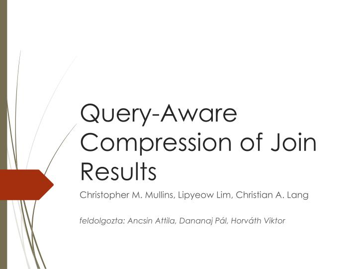 query aware compression of join results n.