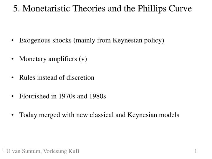 5 monetaristic theories and the phillips curve n.