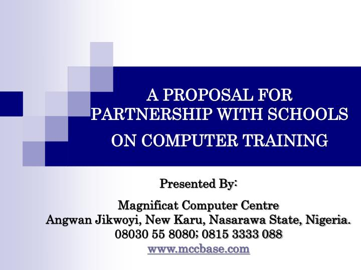 a proposal for partnership with schools on computer training n.
