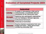 evaluation of completed projects 20041
