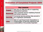 evaluation of completed projects 20046