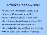 overview of gcoos status