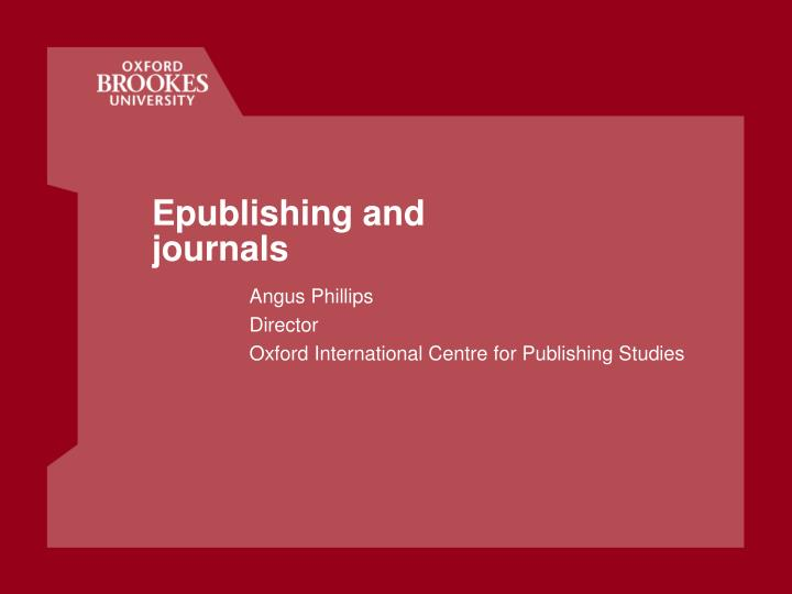 epublishing and journals n.