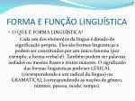 forma e fun o lingu stica