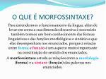 o que morfossintaxe