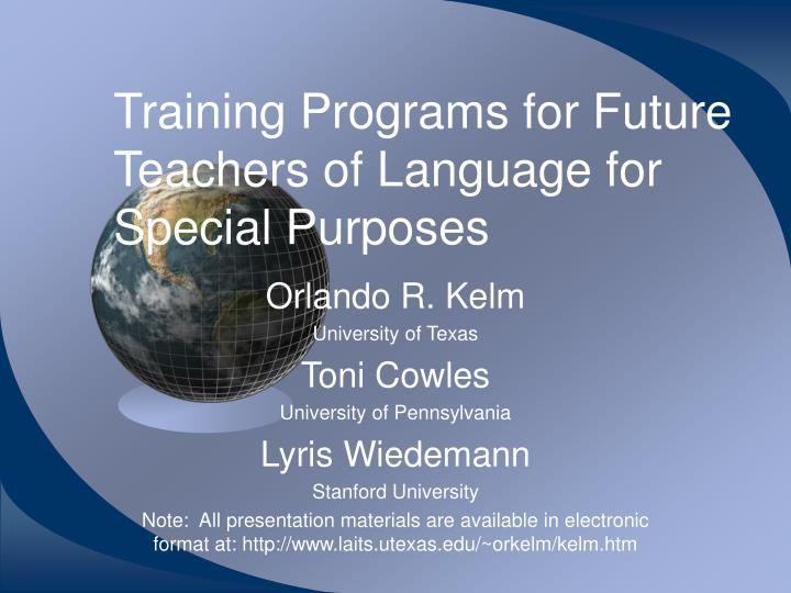 training programs for future teachers of language for special purposes n.
