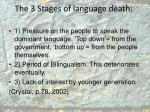 t he 3 stages of language death