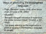 w ays of promoting the endangered language