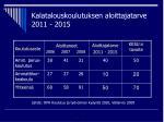 kalatalouskoulutuksen aloittajatarve 2011 2015