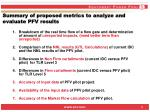 summary of proposed metrics to analyze and evaluate pfv results